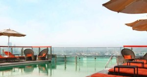 Rooftop pool at the Hilton Dubai Creek.
