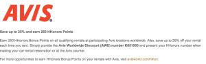 Earn bonus miles through car rental partners like Avis.