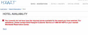 Hyatt Gold Passport Error