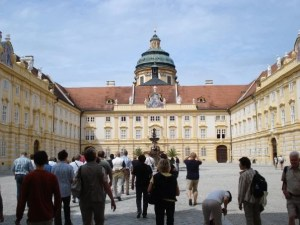 Walking up to the famous Melk Abbey.