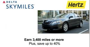 Earn Bonus Delta SkyMiles with Hertz