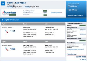 Discounted Miami-Las Vegas award for 20,000 miles.