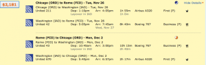 Chicago to Rome on United for $2,181.