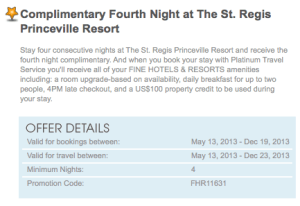 One of the FHR benefits at the St. Regis Princeville is the 4th night free.