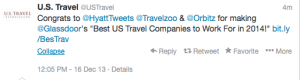 Hyatt, Orbitz and Southwest were voted the top travel companies to work for.