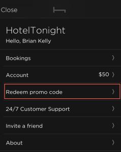 Hotel Tonight Redeem Promo Code