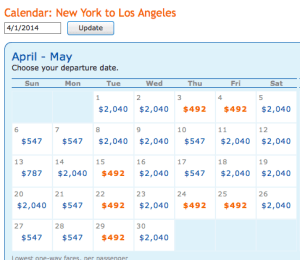 April cheap fare dates