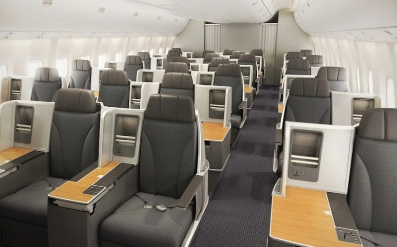 The new American 767-300 business-class cabin.