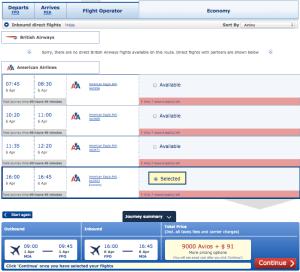 Miami-Freeport - just 9,000 Avios and $91.