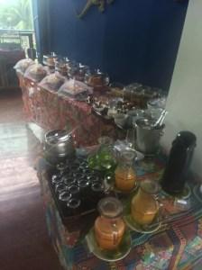 The breakfast buffet setup at the Teju-acu