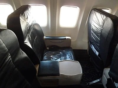 Alaska's 737-900 First class is less than inspirational. Photo courtesy of Airreview.