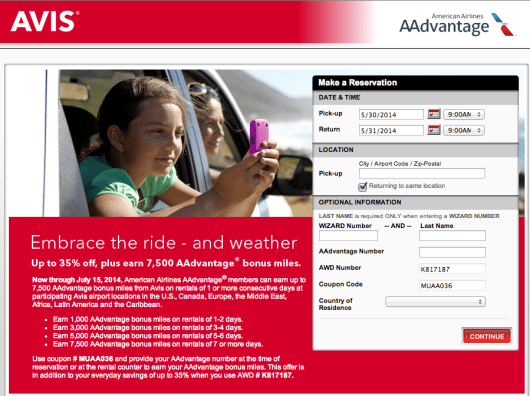 Keep an eye out for bonuses like the current Avis/AA one.