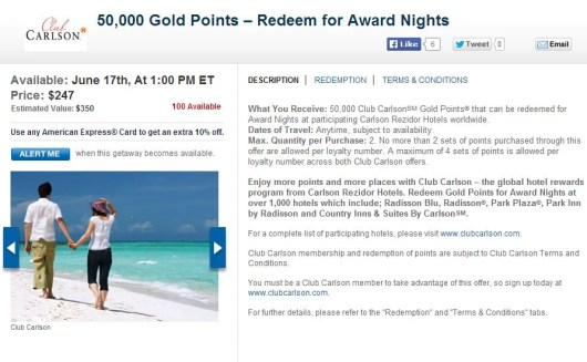 Club Carlson points packages