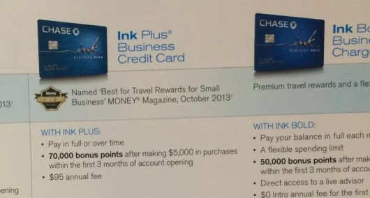 The Chase Ink cards are currently offering 70,000-point bonuses.