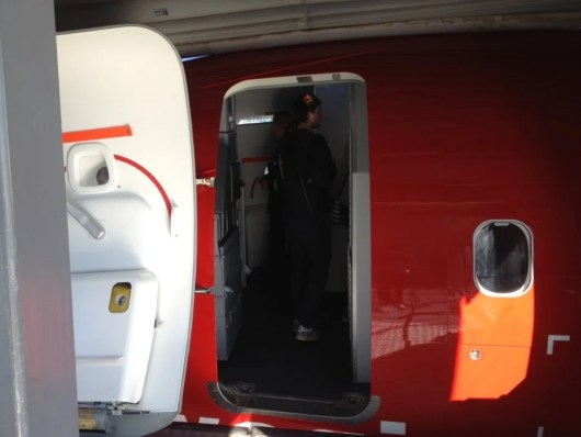 Boarding the plane.