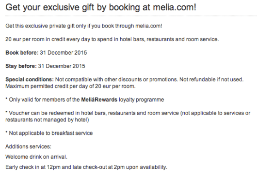 A nice little perk of booking on the melia.com website.