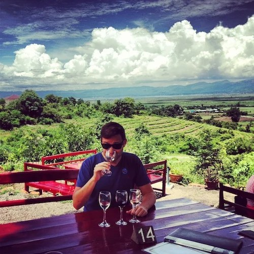 Wine tasting at Red Mountain Estate.