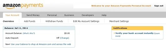 Here is what an Amazon Payments account home page looks like.