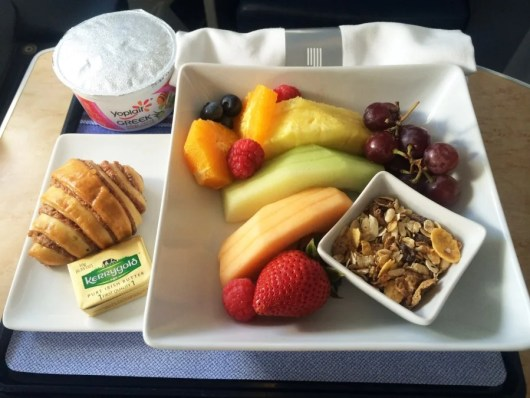 My breakfast of a fruit bowl, granola and Greek yogurt - getting my trip off to a semi-Greek start