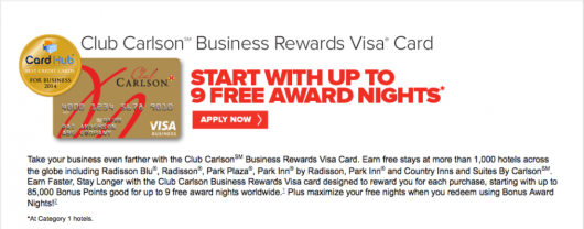 The Carlson business card comes with some great benefits.