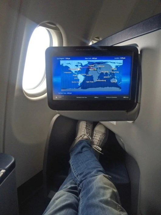 My Envoy Class suite had plenty of leg room and a decent-sized screen.