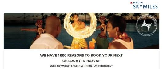 You can earn Delta Skymiles for Hawaii Hilton stays