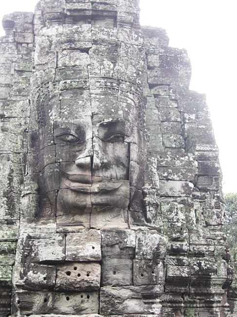A face in the Banyon temple, the last temple to be built and the only one built as a Buddhist temple