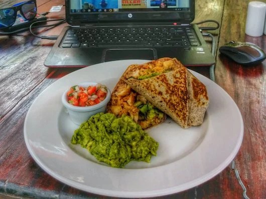 The delectable burrito at Mayan Bistro