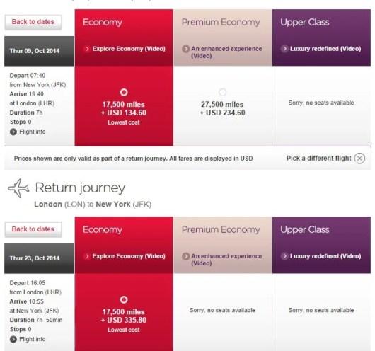 Virgin Atlantic JFK-LHR miles and taxes