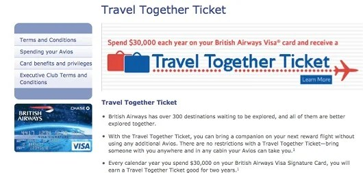 Think of BA's Travel Together ticket as the ability to purchase a companion award ticket in business or first class for about the price of a coach ticket.