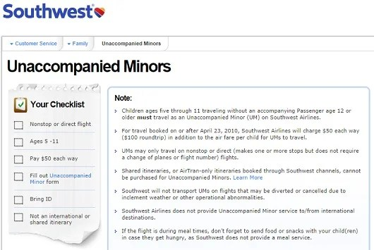 Southwest has one of the best unaccompanied minor policies, but you can't book a trip with a change of plane.
