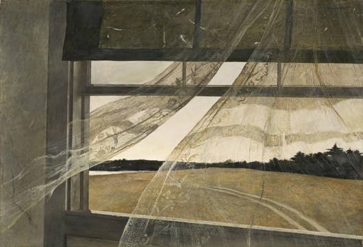 """Andrew Wyeth's tempera painting, """"Wind from the Sea"""" (1947)"""