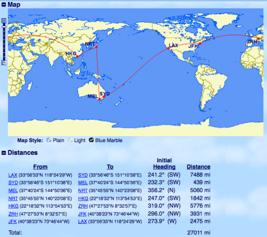 You could hit a number of continents by taking advantage of Cathay's chart.