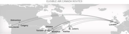 Air Canada's eligible Canadian routes