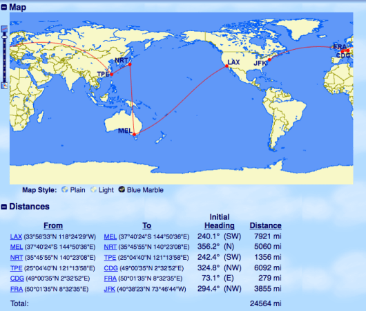 Hit Australia, Asia and Europe (and try some fantastic airlines) all on the same award.