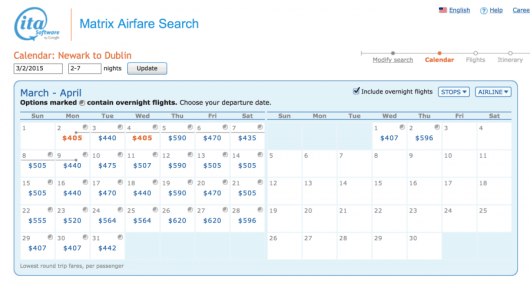 Newark-Dublin for $405 is also available in March/April.