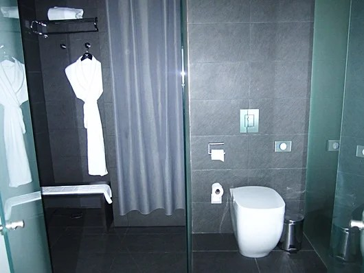 The shower and toilet separated by a glass wall