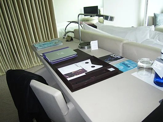 The desk and chair work area