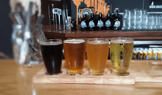 A colorful selection of beers  at Golden Road