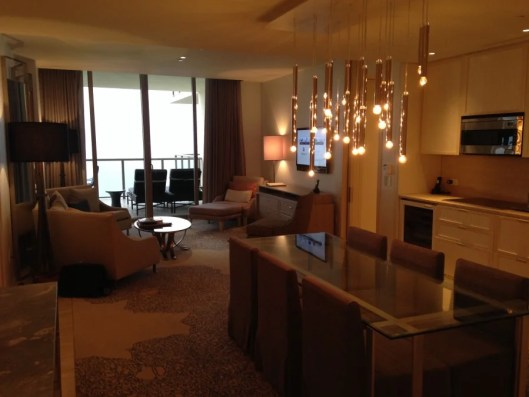 The dining and living areas of our enormous suite.
