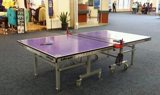 The purple, public ping-pong table at Milwaukee's MKE