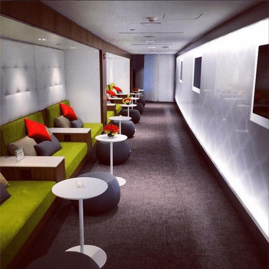 Comfortable seating nooks at the Centurion Lounge LaGuardia