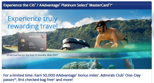 The Citi AAdvantage Platinum Select comes with 50,000 miles and 2 Admirals Club passes.