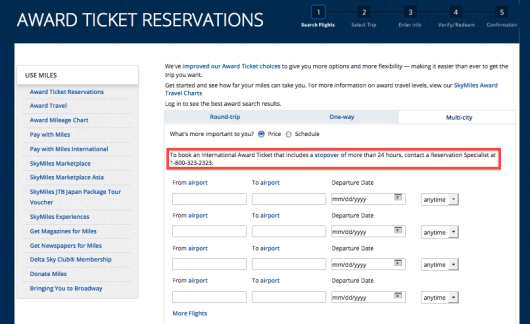 Now if you want to book a stopover, you have to call Delta.