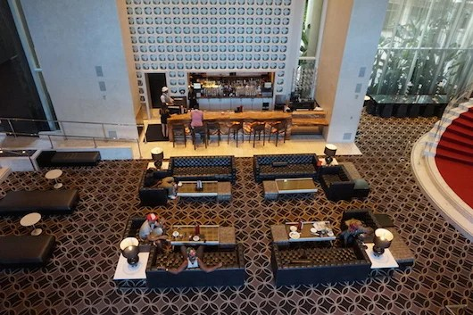 Bird's eye view of the Living Room lobby bar.