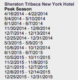Peak season dates for the Shertaon Tribeca New York, when each free night requires 16,000 Starpoints