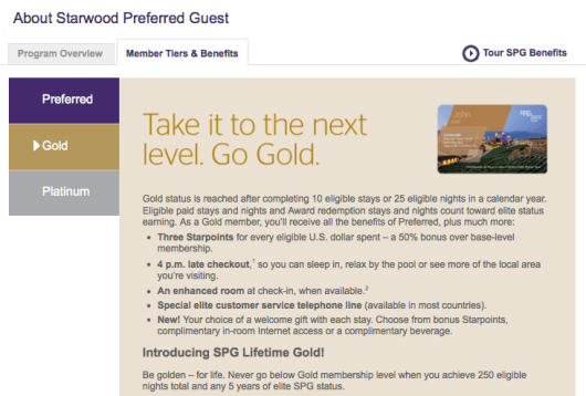 You can earn automatic Gold status by spending £10,000 a year on your SPG American Express card.