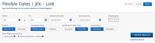 Delta's new award toolbar offers many choices.