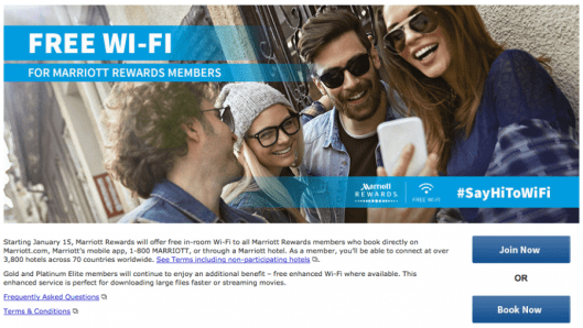 Starting in January, all Marriott rewards members will have free internet; I sure wish other chains would follow suit!