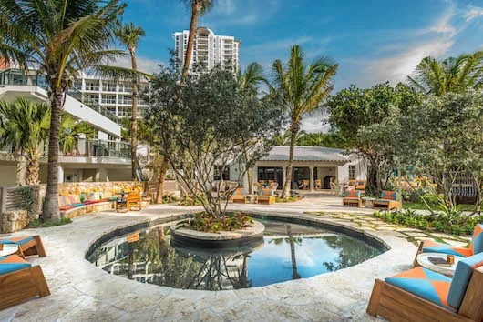 Part of the Thompson Miami Beach's sprawling outdoor space.